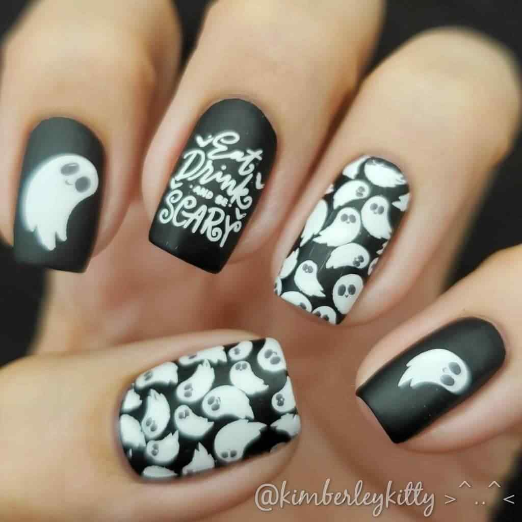uñas estampadas fantasma halloween