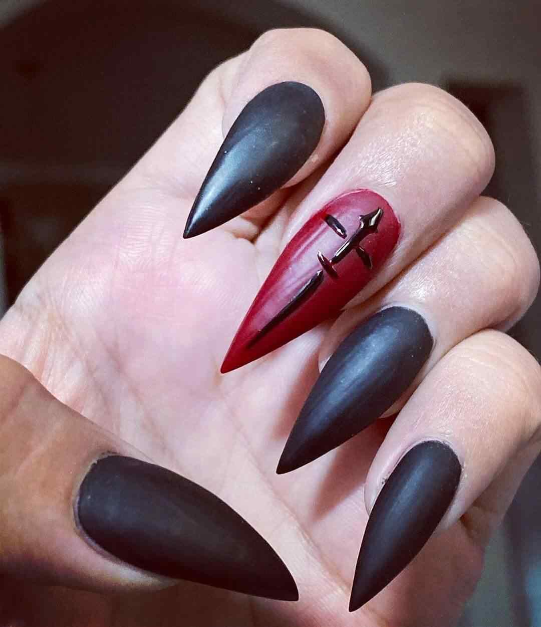 uñas mate ataud vampiro halloween