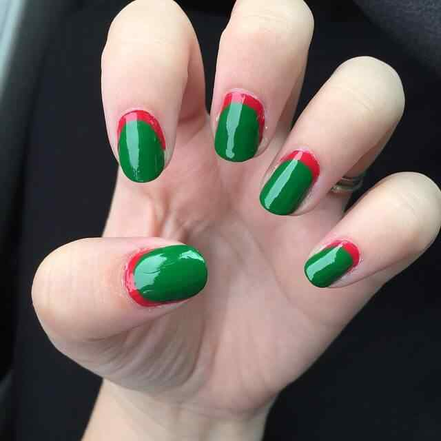 uñas rojas y verdes sencillas navidad