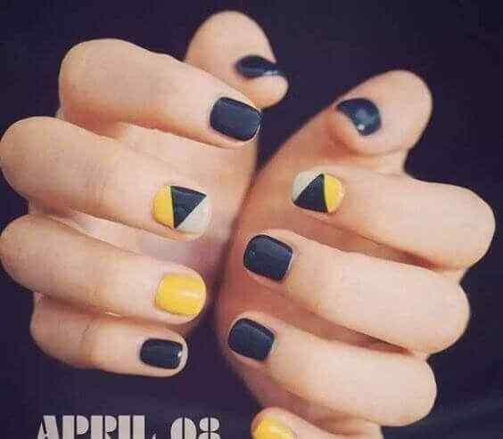 uñas cortas faciles amarillas y negras