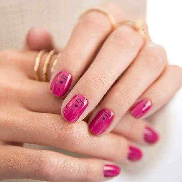 uñas cortas rosa faciles