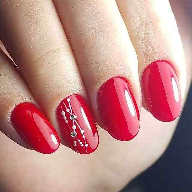 Rojo con blanco y piedritas