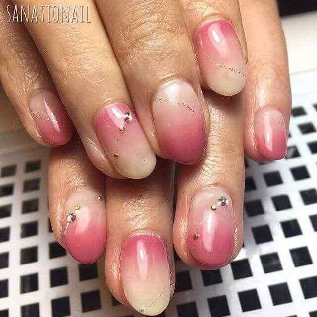 uñas rosa cortas degradadas