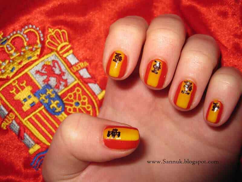 decoración de uñas bandera españa