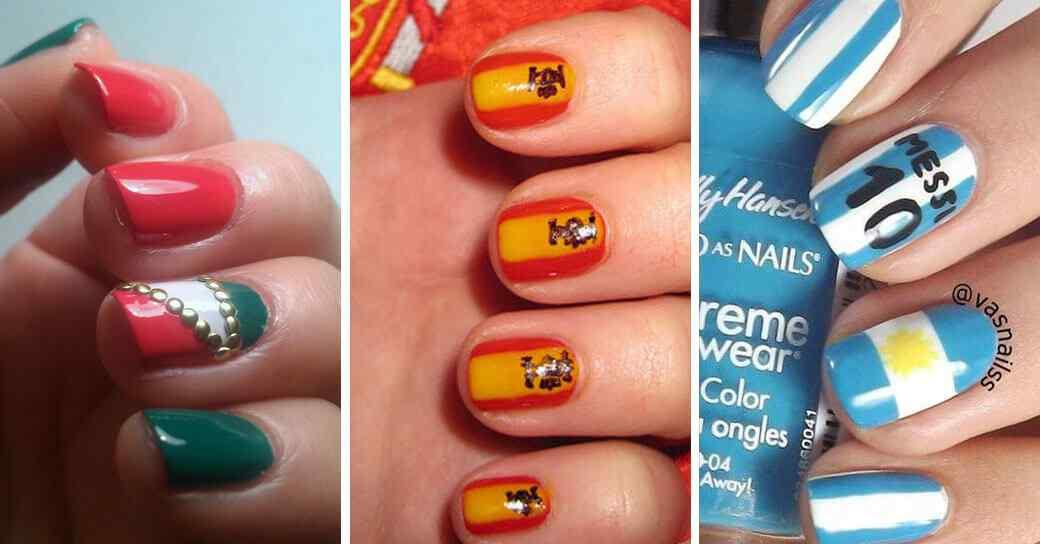 Decoracion de uñas con banderas