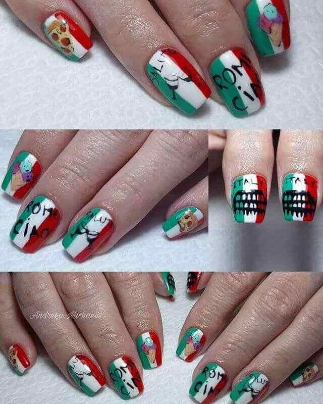 uñas decoradas bandera de italia