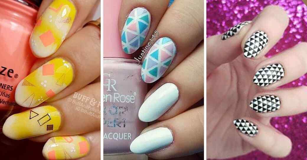 Decoracion de uñas geometricas diseños y tutoriales