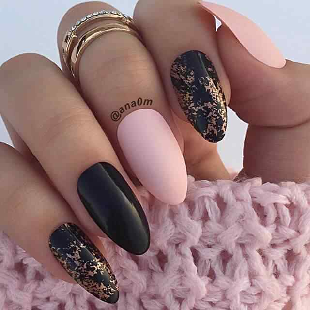Black and pink acrylic nails