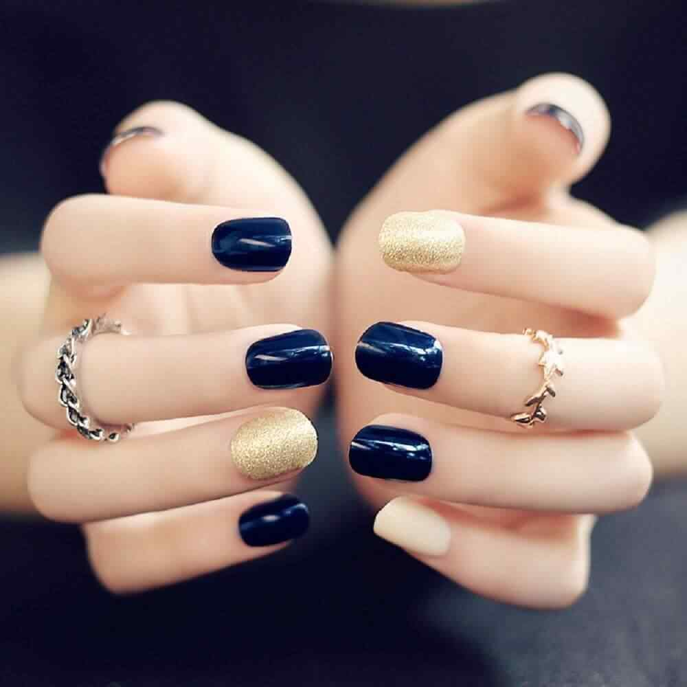 Blue nails with gold