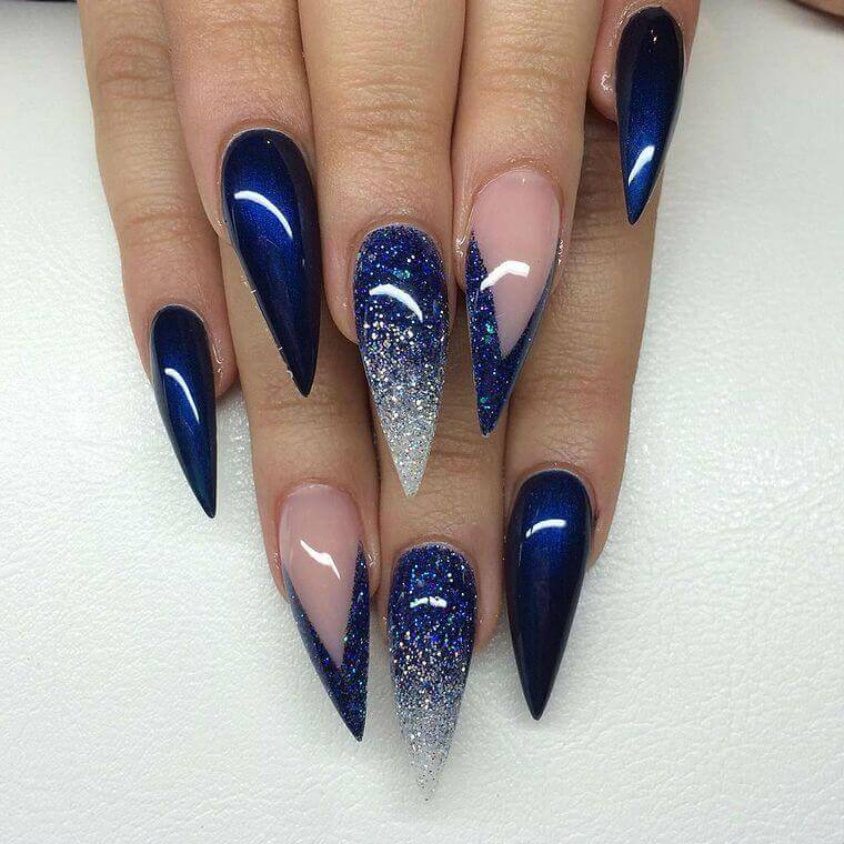 Long blue nails