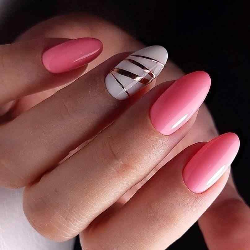 Pink and gold nail decoration