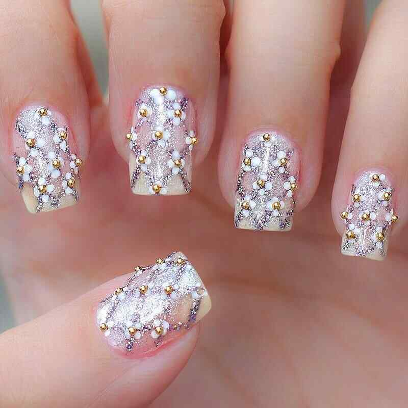 nails decorated with stones