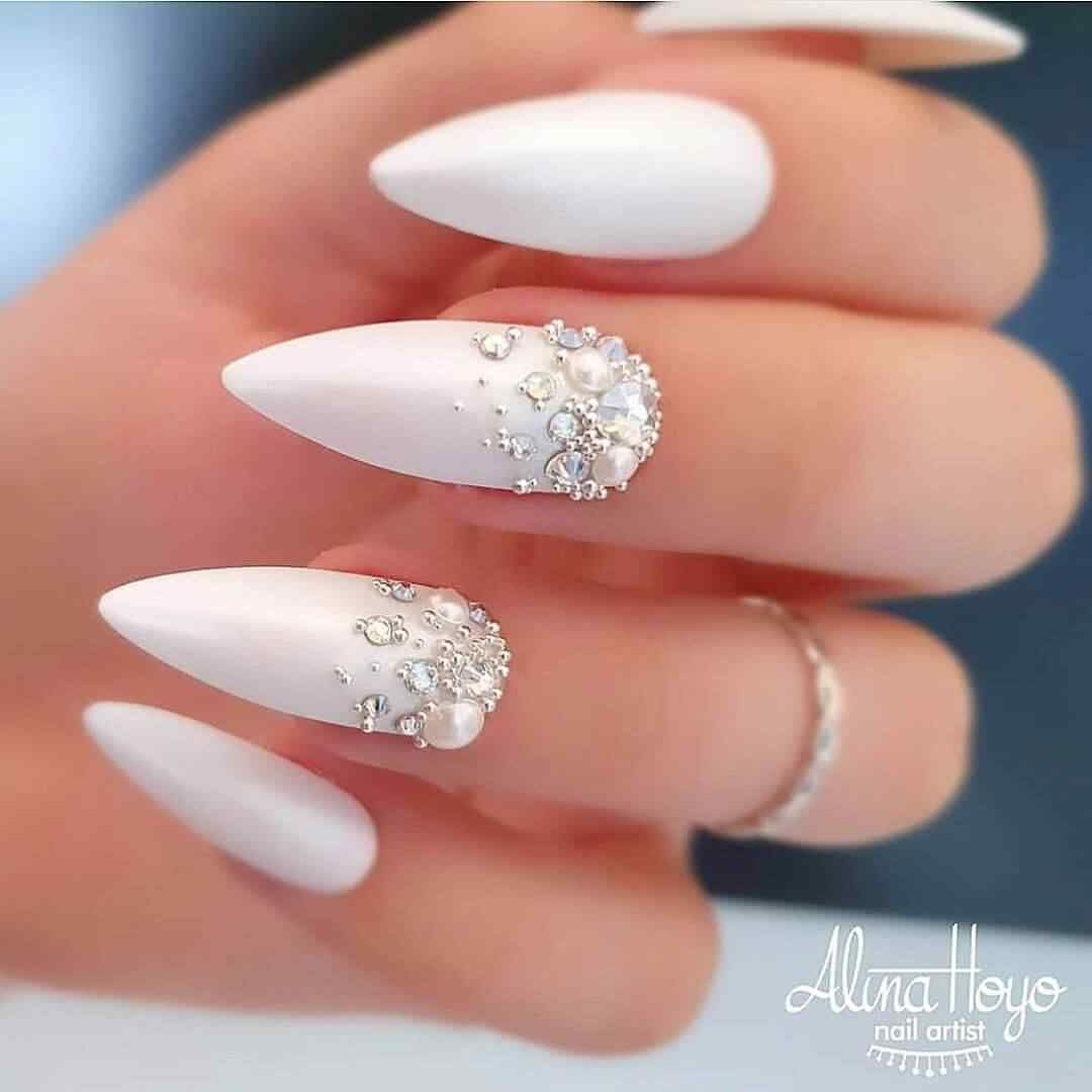 Nails decorated for weddings