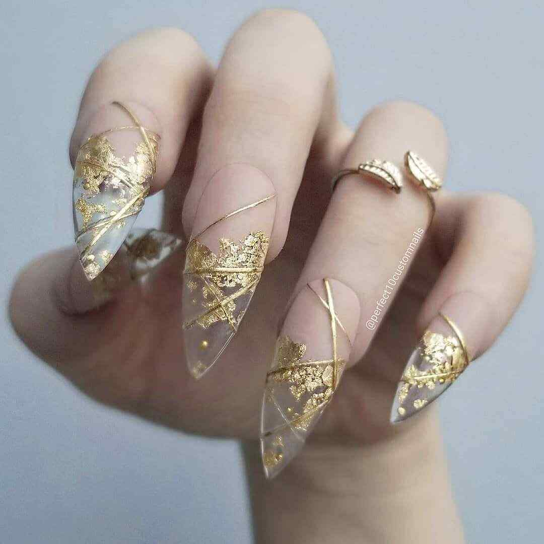 Transparent golden nails