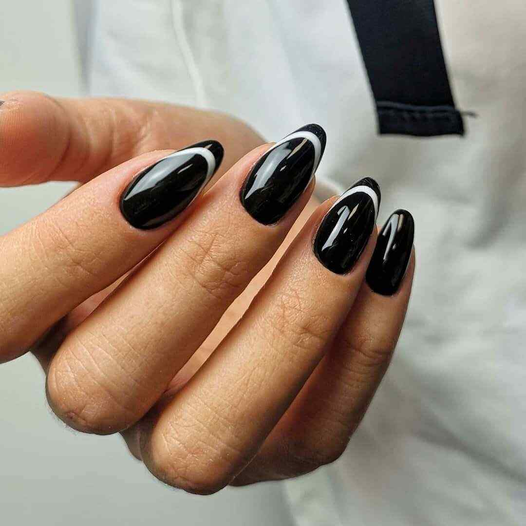 Black nails with white