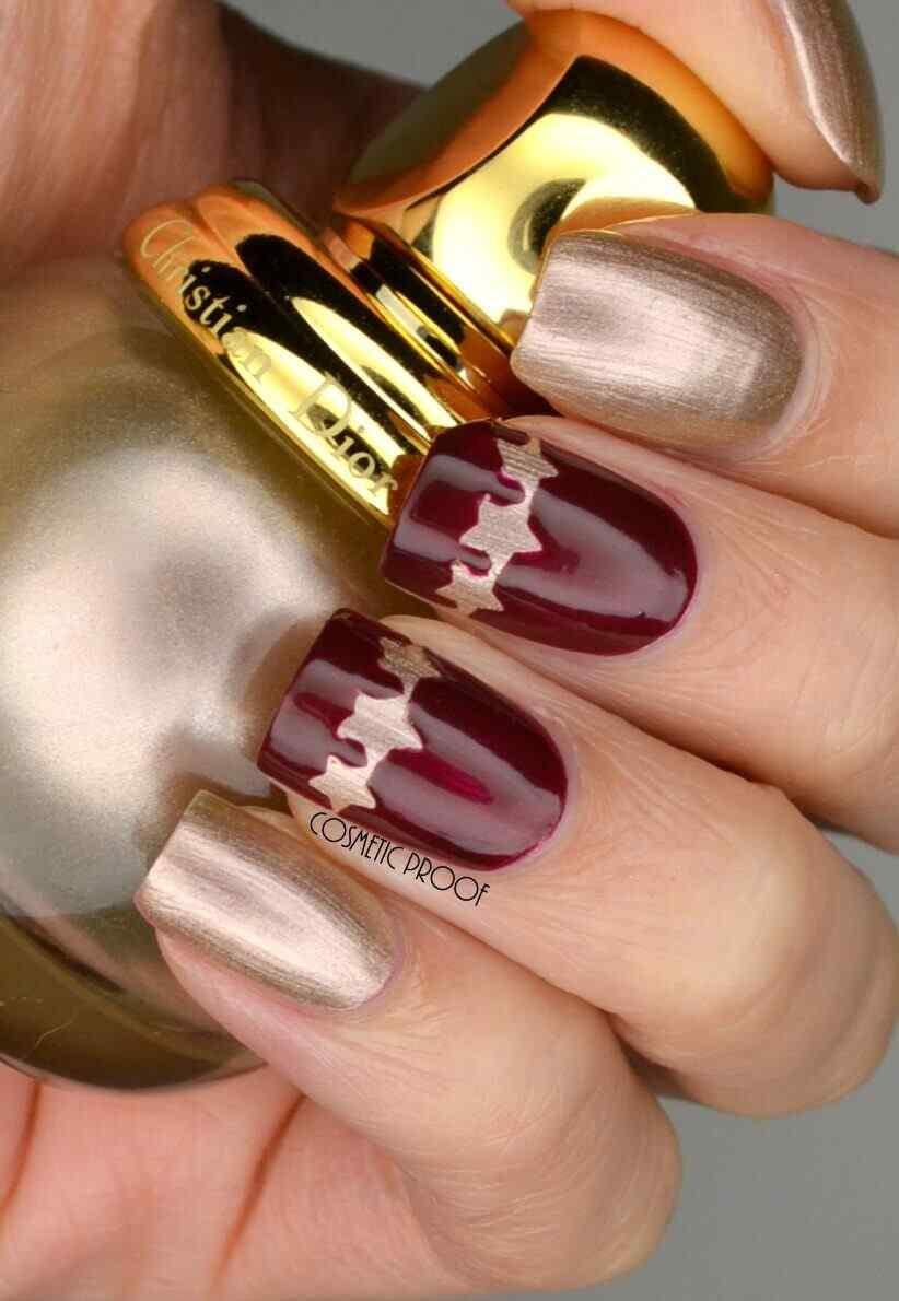 decoración de uñas vino y dorado