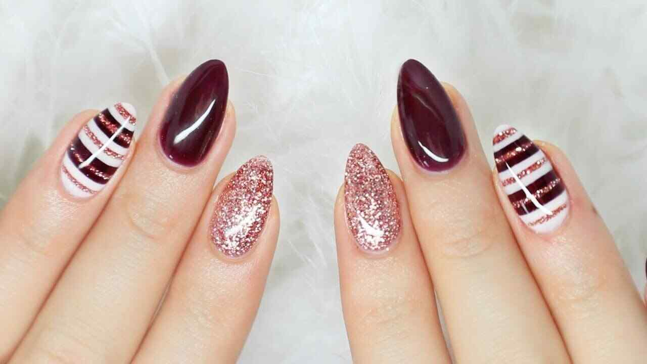 decorated wine colored nails