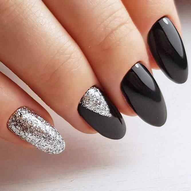 negro y plateado con brillo