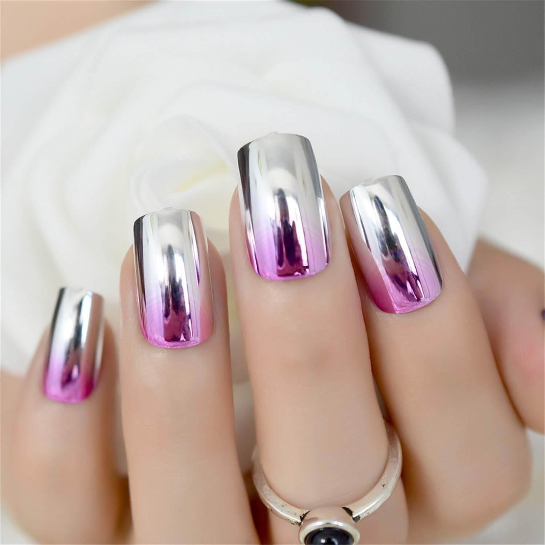 uñas efecto espejo plata y rosa