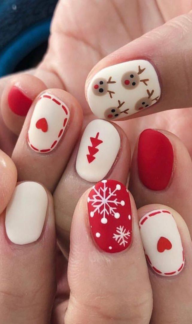 uñas navideñas sencillas rojo y blanco