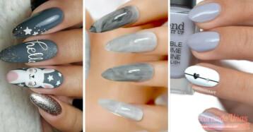 decoracion de uñas grises