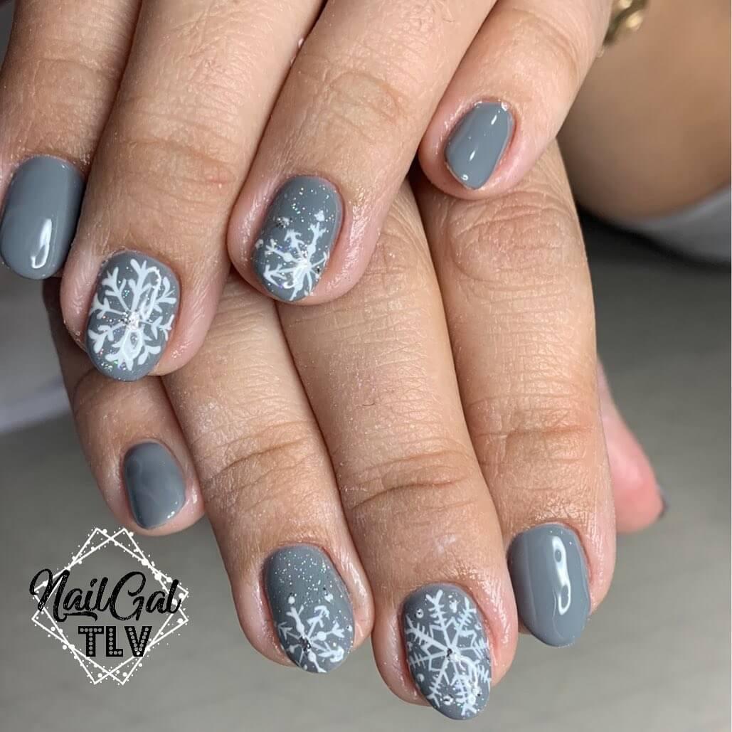 uñas grises para invierno